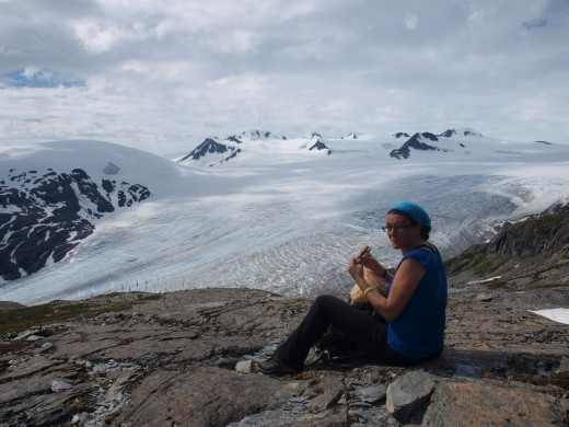Harding Ice Field Trail - 1st lunch stop - cheese & Branston pickle sandwiches !