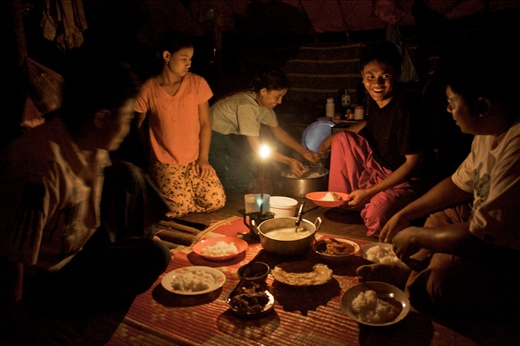 In the jungle, at night, in exile, gathering is an instant of short joy+sharing