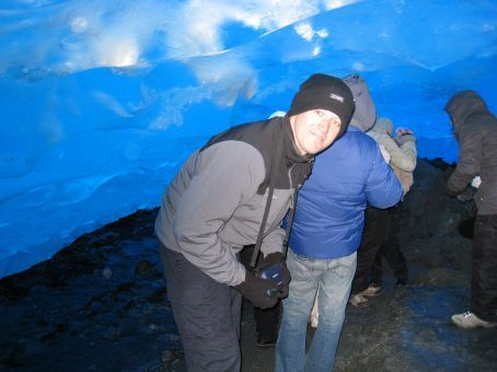 In an ice-cave under the glacier.