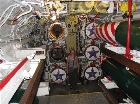 Inside the forward torpedo room of a Soviet hunter/killer sub.