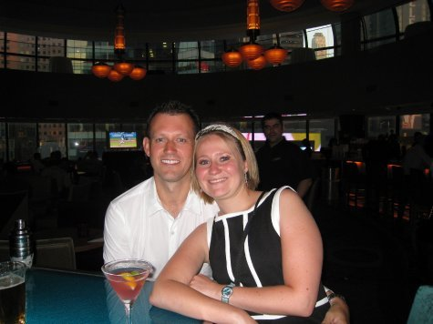 In the bar before the wedding breakfast.
