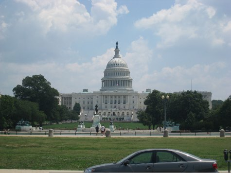 Capitol Building. Senate is in session, house is not.