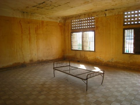 S21 prison, torture cell. Its been left just as the Vietnamese soldiers found it as a gencocide museum.