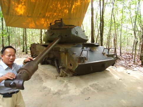 American tank destroyed in 1971 by VC fighter. He must have got the 'Hero - killing Ameicans medal'. Genuine medal name!!