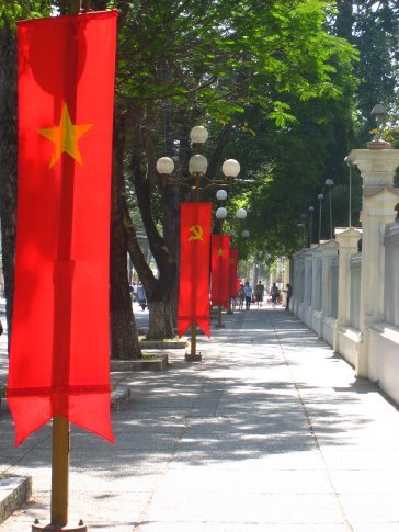 Street in Ho Chi Minh (Saigon). A place where the Hammer and Sickle still lives on.