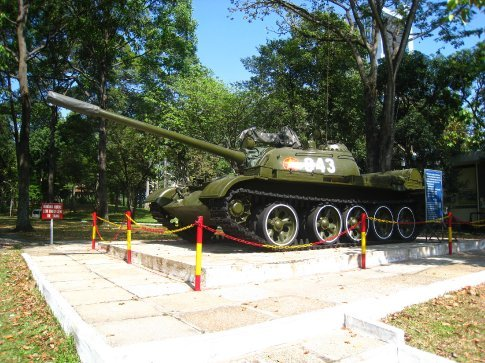 Soviet built T-55 tank that burst through the gates of the presidental palace in 1975.