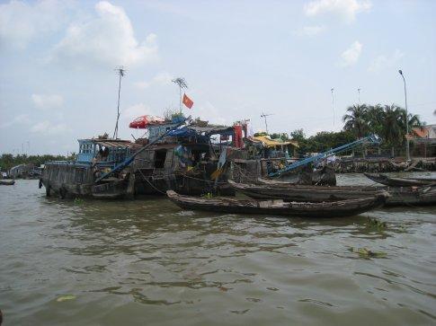 Floating market in the Mekong Delta.