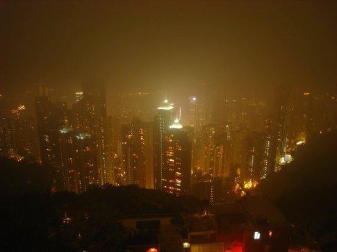 HK at night from Victoria peak. Very misty, but at least its not raining.