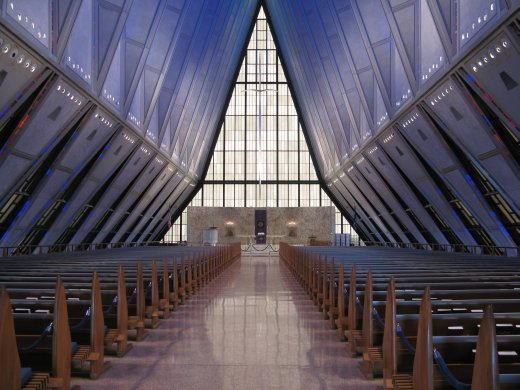 Amazing space ship like interior of the chapel