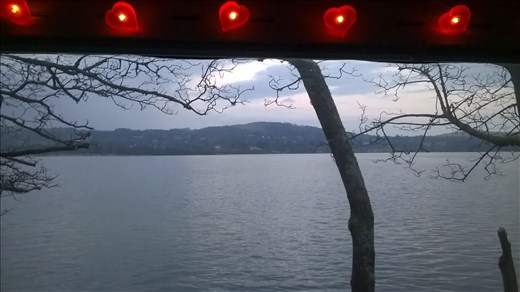 View from our motorhome window in the evening.