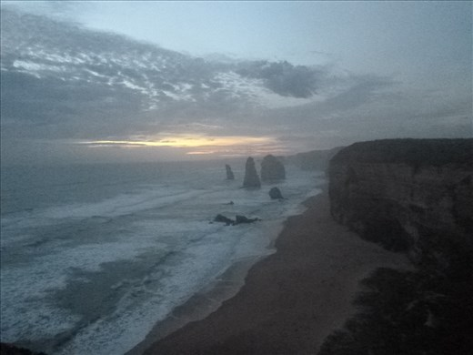 12 Apostles sunset, penguins came on shore on this beach