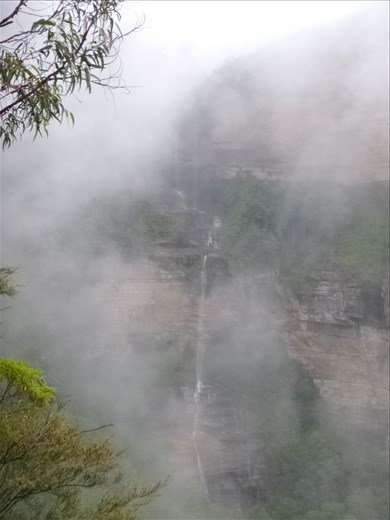 The falls, just about visible
