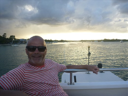 Ferry up Noosa river, Mark 'on holiday'!