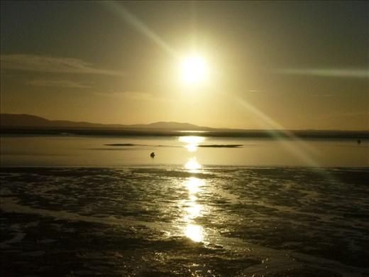 Sunset on our camp beach