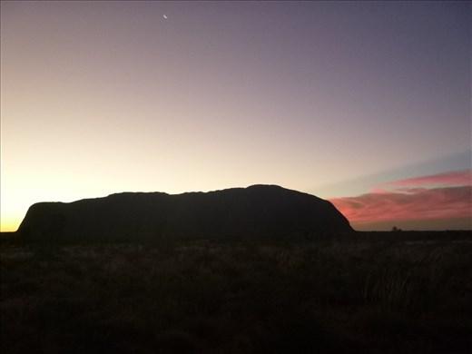 Sunset at Uluru from the dark side
