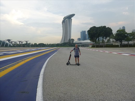 Mark scootering the F1 route