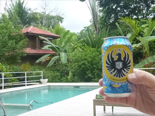 Beer at the pool in Ojochal