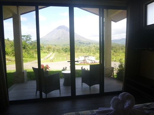 View of Arenal volcano from our bungalow