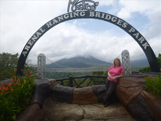 hanging bridges and arenal volcano