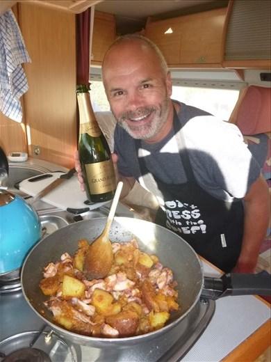 Octopus and potato pan fry (Mark has forgot his shaver!)