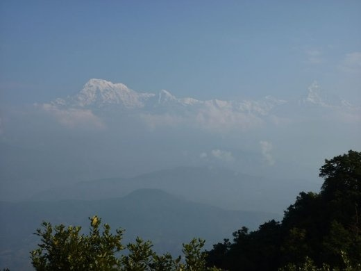 Misty view of the Annapurna range from Panchase