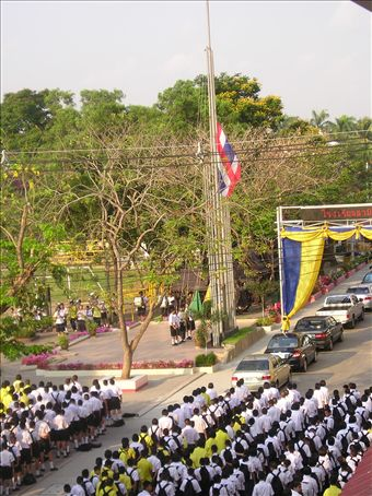 The Last Assembly; watching the Thai flag being hoisted to the sound of the National Anthem