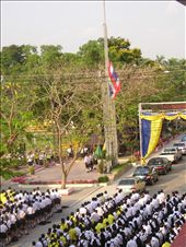 The Last Assembly; watching the Thai flag being hoisted to the sound of the National Anthem: by dayna_desu, Views[1092]
