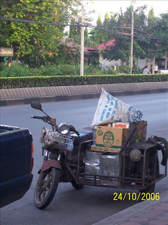 The Thais are ingenious when it comes to vehicles - there's lots of uses for a motorbike and sidecar we never knew about!