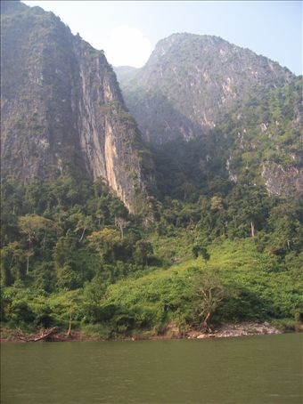 The mountains along the river