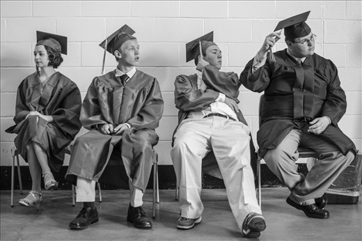 High school students waiting before their commencement.
