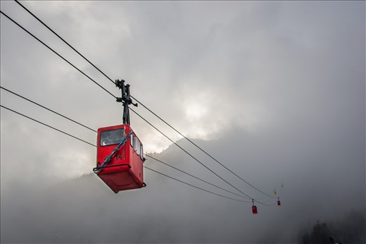 This was the first thing I saw when I arrived in St. Gilgen, on lake Wolfgang in the Austrian region of Salzkammergut. It is a charming small town nestled between the Dachstein Alps. This old cable car brought tourists and skiers to the peaks with a magnificent view over seven different alpine lakes in the region. Unfortunately the weather limited visibility, and the charge to use the cable car was a little steep, so I decided to give it a miss. It did give a mysterious atmosphere to the place, and the fog cleared momentarily to catch a glimpse of the sunny mountains, but I doubt the skis attached to that gondola have seen much snow up there that day.
