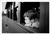 Little boy thinking while riding and old train. Argentina: by diana, Views[1370]