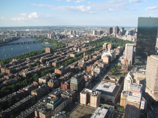 View of Back Bay from Prudential Tower, Boston