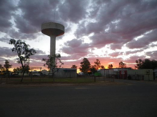 water tower and night sky