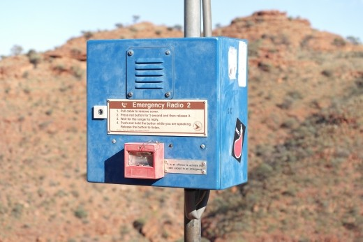 This is the first of 4 emergency phones on the Kings Canyon Rim Climb...