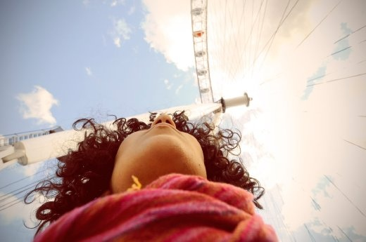 It is a self portrait beside London Eye in London as one of the tourist attractions.