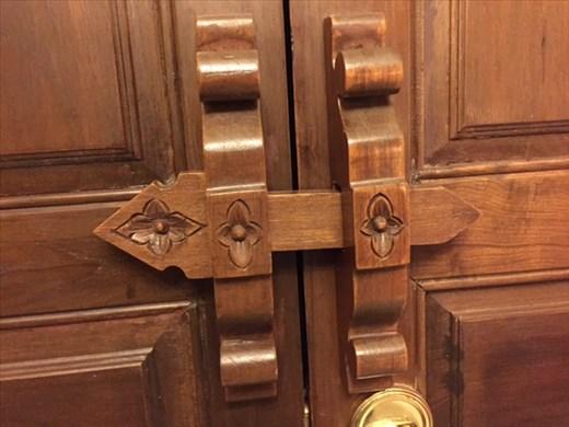 Wooden lock on our hotel door