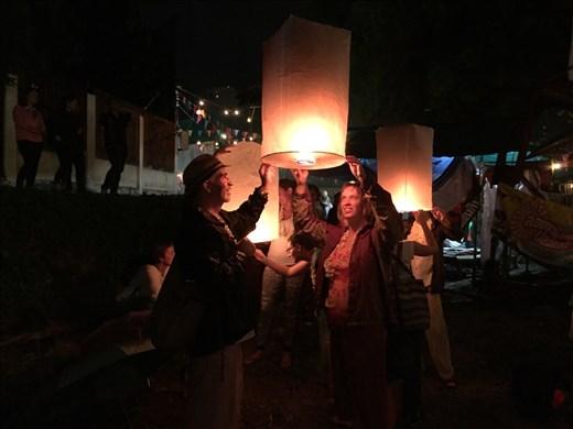 Aaron and Dina sending up a lantern for Loy Krathong