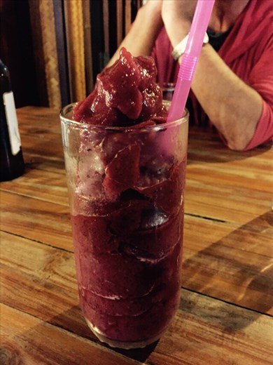 I ordered a mixed berry juice. This very thick shake arrived instead. I was grateful, though, later when I bit into a very hot Thai chili pepper.