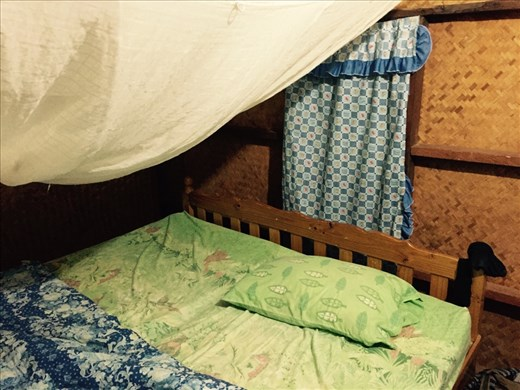 Our luxurious hut in Pai. Complete with mosquito net.