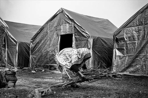 Saki Bema, over 80 years old, picks dry twigs to light a fire for cooking in the camp. Living all by herself, she is quite like her village Dotma, bent with burden and broken, but surviving with grit and melancholy determination.