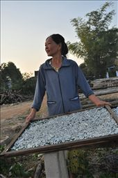 A lady lays out some fish to dry while calling out to a mate on the beach.: by diwata, Views[393]
