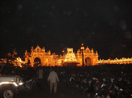 The Mysore palace lights. I knew that they lit up the palace on Sunday nights but I didn't know that it was only for an hour and I just caught them. They use 96,700 lightbulbs and doesn't it look spectacular?