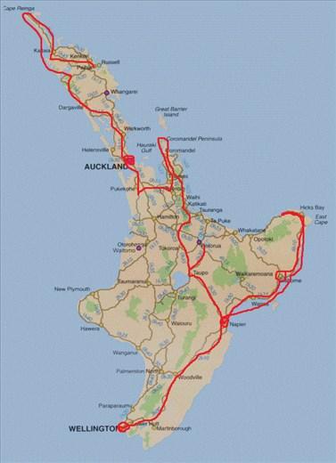 Meine Route auf der Nordinsel!