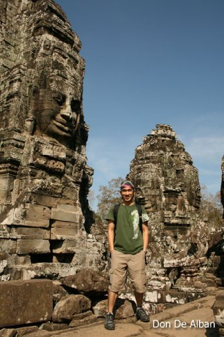 exploring the bayon temple, siem reap, cambodia.
