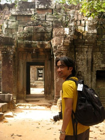 shooting at ta prohm temple, siem reap, cambodia.