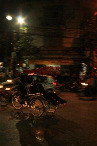 Touring Hanoi on cyclo.