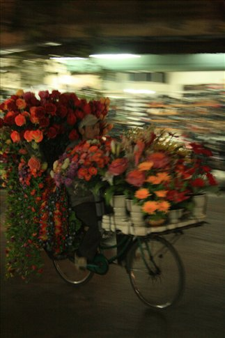 Flower hawker on bicycle.