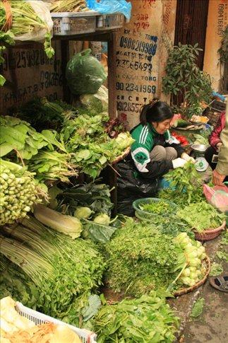 Vegetable seller along Tam Thuong Street.