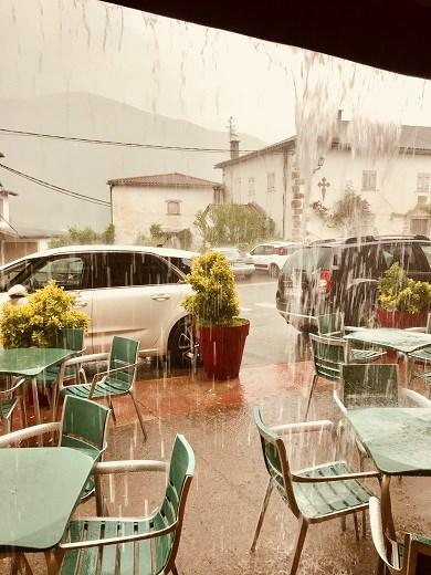 Outside Ronsevelles Cafe Rain